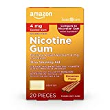 Amazon Basic Care Nicotine Polacrilex Coated Gum 4 mg (nicotine), Cinnamon Flavor, Stop Smoking Aid; quit smoking with nicotine gum, 20 Count