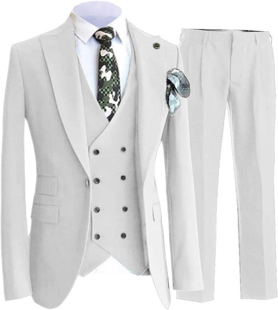 Zeattall Men's Wedding Slim Fit Suit Blazer Jacket Tux Vest & Trousers 3-Piece Suit Set for Men Groom Tuxedos