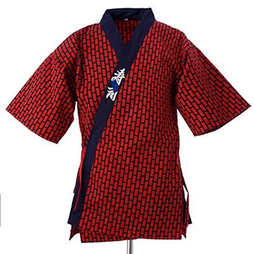 Urcar Japanischer Stil Kochjacke Kochuniform Japanischer Kochservice Kimono Working Wear Restaurant Arbeitskleidung Werkzeuguniform (2,XL)