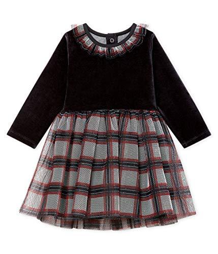 Petit Bateau Baby-Mädchen Robe ML_5113801 Kleid, Mehrfarbig (Noir/Multico 01), 80 (Herstellergröße: 12M/74cm)