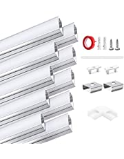 HOMMAND 10 pack x 1m / 3.3ft LED aluminium kanaal, LED strip kanaal en diffuser, LED strip afdekking met eindkappen, montage clips en lijm, LED aluminium profiel 10m (U-vorm)