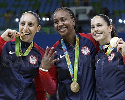 Diana taurasi Tamika catchings & Sue pájaro EE. UU. 2016olímpicos baloncesto medalla de oro 8x 10fotos
