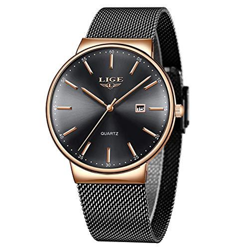 LIGE Unisex Damen Herren Uhren Wasserdicht Mode Minimalistische Analoger Quarz Armbanduhr Männer Schwarz Edelstahl Mesh Armbanduhren
