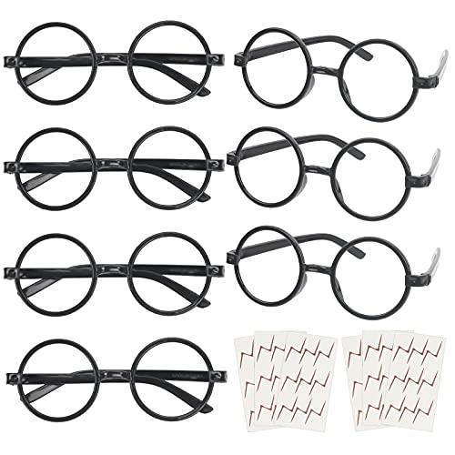 KATOOM 16PCS Gafas de Harry Potter, Gafas Redondas de Infantil, con 6 Hojas Tatuaje para Niños, Gafas Wizard sin Lentes Estilo de Empollón para Materiales de Fiesta de Disfraces Halloween, Neg