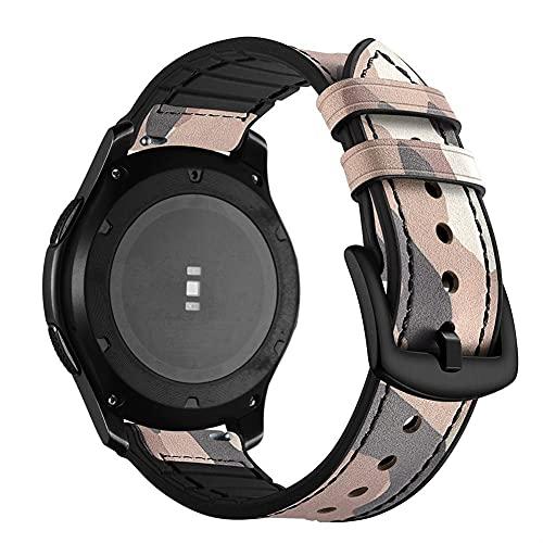 Mira La Banda De La Correa Para Samsung Galaxy 42 / 46mm Gear S3 S2 Activo Para Un Stratos 2 2s Bandas De Pulsera 20mm 22mm De Cuero 1033 (Band Color : Pink, Band Width : 22mm)