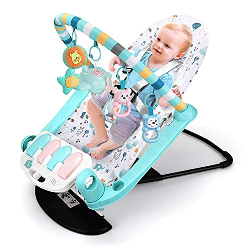 YzDnF Baby Crawling Game Pad Infantil 2 en 1 Fitness Fitness Marco para niños Mecedora Mecedora Silla educativa educación temprana bebé Pedal de Piano Juguete Kick Play Piano Gimnasio