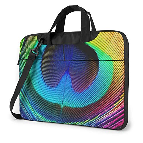 Laptop Shoulder Bag 14 inch, Colorful Feather Business Briefcase Protective Bag Cover for Ultrabook, MacBook, Asus, Samsung, Sony, Notebook