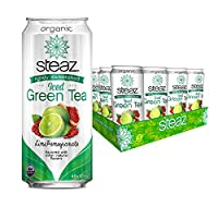 Steaz Iced Tea Can, Lime Green Pomegranate, Gluten Free, 16-ounces (Pack of12) by Steaz