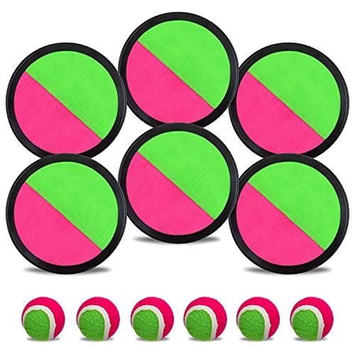 Toss and Catch Ball Set, Catch Game Toys Outdoor Games for Kids Beach Toys with 6 Paddles 6 Balls 1...