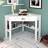 LATIPOPO Corner Triangle Desk with Drawer, Home Office Table Writing Desk PC Table, Corner Table with Storage Shelves, Study Workstation for Small Space, White