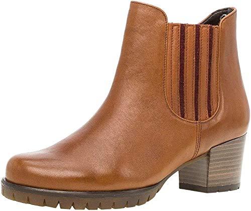 Gabor Damen Chelsea Boots 36.654, Frauen Stiefelette,Stiefel,Halbstiefel,Bootie,Schlupfstiefel,hoch,Cognac (rot/Micro),39 EU / 6 UK