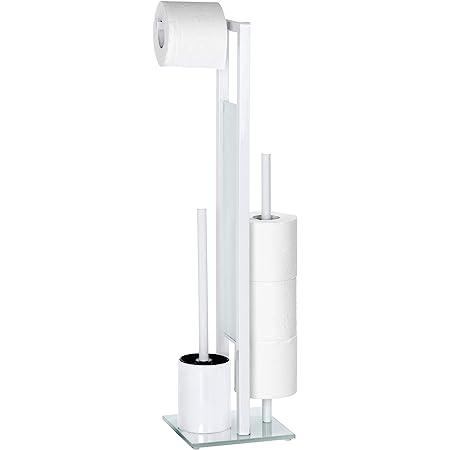 WENKO Serviteur WC Rivalta, Brosse WC et Dérouleur Papier Toilette, Acier Inox blanc et verre trempé, 18x70x23 cm