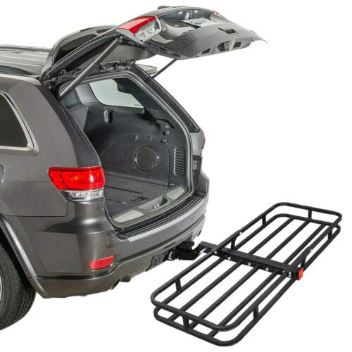 ZENY Universal 53' Hitch Cargo Carrier Compact Mount Steel Luggage Rack Basket 2'' Receiver Hitch Cargo Rack 500 LBS Capacity