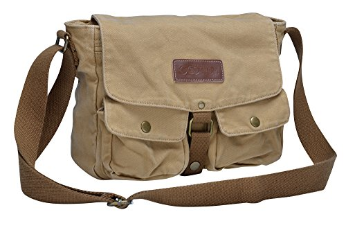 """✔ MATERIAL - Made of customized high density canvas, this messenger bag was endowed with durable performance and rugged style. Garment wash for the finished product adds soft and comfortable touch to it. ✔ DIMENSIONS - 11.2""""(L) x 3.4""""(W) x 9""""(H); Ite..."""