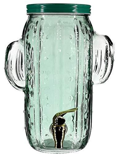 My-goodbuy24 Getränkespender aus Glas mit Zapfhahn | Wasser-Spender | Limonadenspender | Saftspender | Bowle | Dispenser 4 Liter - Kaktus