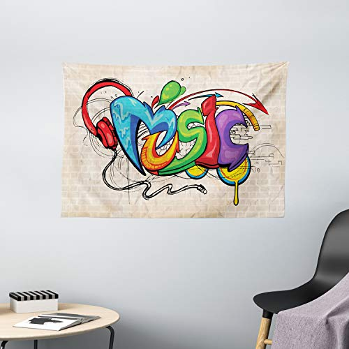 Ambesonne Music Tapestry, Illustration of Graffiti Style Lettering Headphones Hip Hop Theme on Beige Bricks, Wide Wall Hanging for Bedroom Living Room Dorm, 60