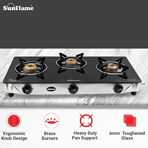 SUNFLAME CROWN Stainless Steel Toughened Glass Top 3 Burner Gas Stove with 2 Years Made In India (Manual Ignition, Black)