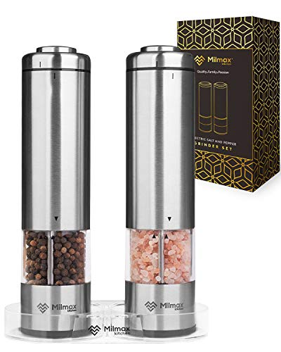Electric Salt and Pepper Grinder Set – Durable Stainless Steel Salt and Pepper Shakers – Powerful, Easy Battery Powered Pepper Mill w/ LED Light & 6 Coarseness Settings (2 Mills)| Milmax Kitchen