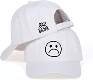 Sad Boys Adjustable Hat Crying Face Embroidery Baseball Cap Dad Hat Hip Hop Cap (White)