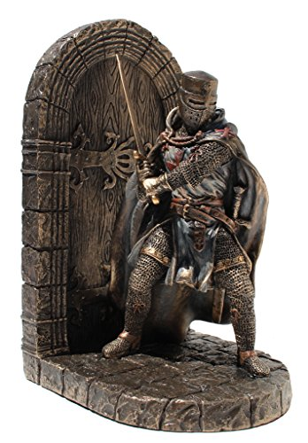 Gepanzerter Malteser Kreuzritter mit Schwertschutztür, Einzelbuchstütze, Kaltguss-Bronze