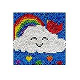 Lxmsja Kit per Ferri da Uncinetto di Tappeti Fai da Te per Adulti, Latch Hook rug Kits Tappeto da Ricamo Punto Croce Artigianato d'Arte con Motivo Stampato-Arcobaleno 11,8 * 11,8inch