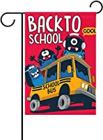 フラッグ スクールバスの赤の学校のモンスターに黒の漫画の庭の旗のバナー 30 x 45cm屋外の家の庭の植木鉢の装飾