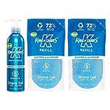King of Shaves Refillables Sensitive Shave Gel Aluminium Bottle 1 x 250ml & Refill Pouch 2 x 200ml