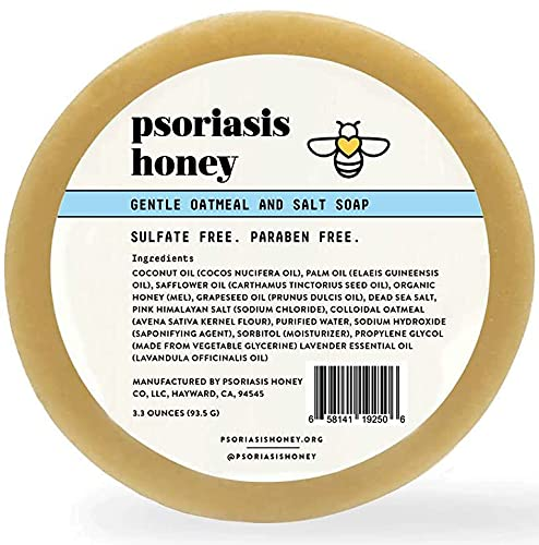 Psoriasis Honey Gentle Cleansing Bar Soap for Dry, Sensitive and Itchy Skin, Mild Soap Bar Contains Moisturizing Oatmeal, Salt, Coconut Oil to Soothe and Relieve, Sulfate and Paraben Free (3.3oz)
