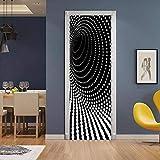 Adesivi Per Porte Interne 3d Adesivo Murale Bianco Nero Adesivo Per La Famiglia Decorazione Della Camera Da Letto Bagno Rimovibile Poster Adesivi Per Porte-95x215cm