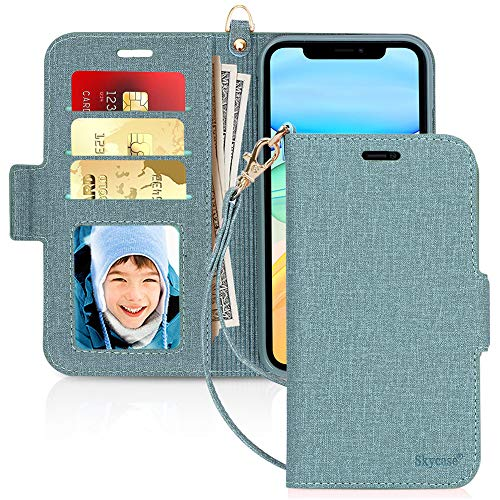 """Skycase iPhone 11 Case 6.1"""",[RFID Blocking] Handmade Flip Folio Wallet Case with Card Slots and Detachable Hand Strap for Apple iPhone 11 6.1"""" 2019,Green"""