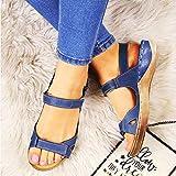 DQYFZQ 2020 Nuevas Sandalias de Mujer Sandalias de Mujer Suaves y cómodas Sandalias Planas de Tres Colores Zapatos de Playa con Punta Abierta Zapatos de Mujer,Azul,39