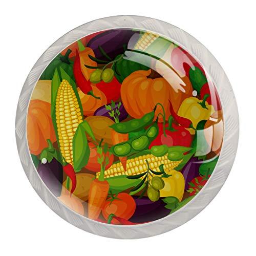 Perillas de gabinete de cocina Perillas decorativas redondas Gabinete Cajones de armario Tirador de tocador 4PCS Verduras coloridas Calabaza Maíz Guisante Berenjena
