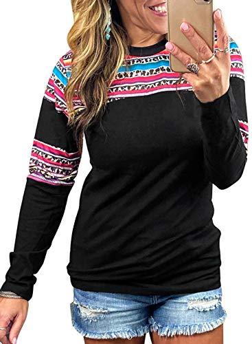 CORAFRITZ Sudadera con estampado de leopardo para mujer, cuello redondo, túnica étnica de manga larga, blusa suelta