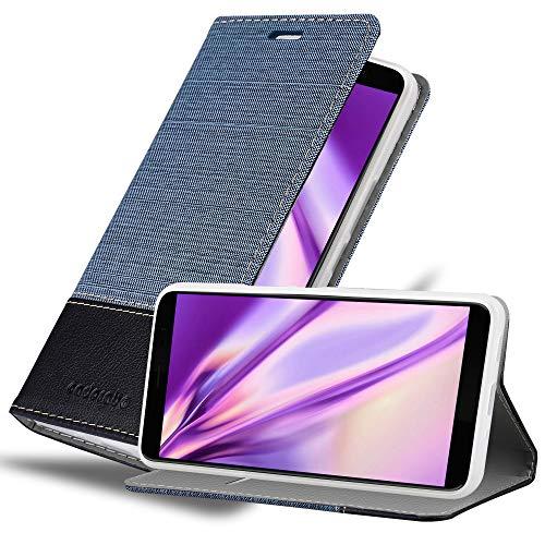 Cadorabo Custodia Libro per HTC U11 PLUS in AZZURRO SCURO NERO - con Vani di Carte, Funzione Stand e Chiusura Magnetica - Portafoglio Cover Case Wallet Book Etui Protezione