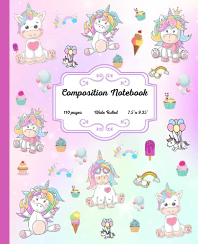 Composition Notebook: Baby Unicorn Wide Ruled Paper Notebook. Lined Paper Journal for Girls and Teens for School or Homeschool.