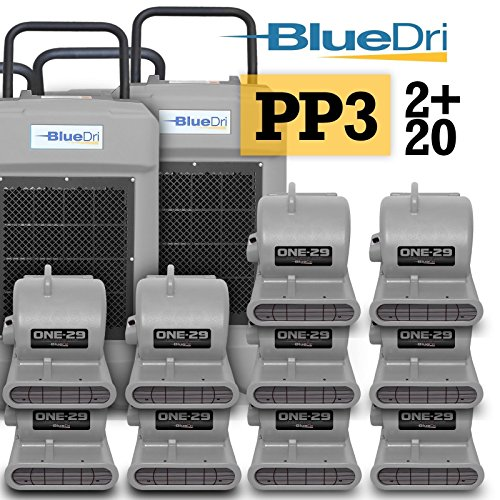 Purchase BlueDri Pro Pack 3 Water Damage Restoration Equipment, 2X BD-130 Industrial Commercial Dehu...