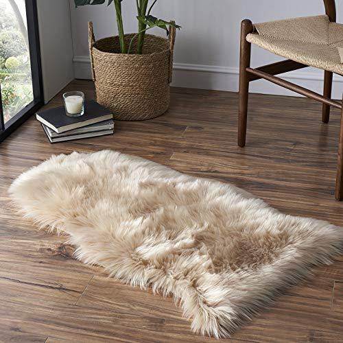 Tangsoo - Alfombra de piel sintética suave, color blanco, mullido, para sillón, asiento de dormitorio, sofá, habitación de niños, 2 x 3 pies (beige)