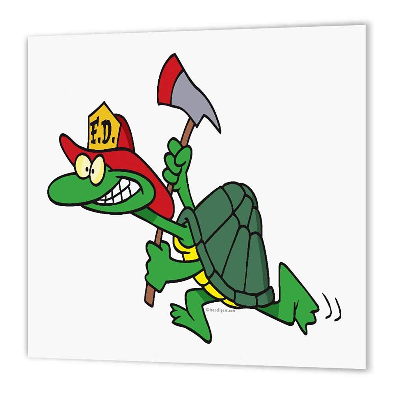 3dRose ht_104057_2 Funny Fireman Firefighter Turtle Cartoon Iron on Heat Transfer Paper for White Material, 6 by 6