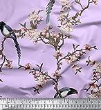 Soimoi Lila Seide, Stoff Blumen & Paradise Whydah Vogel