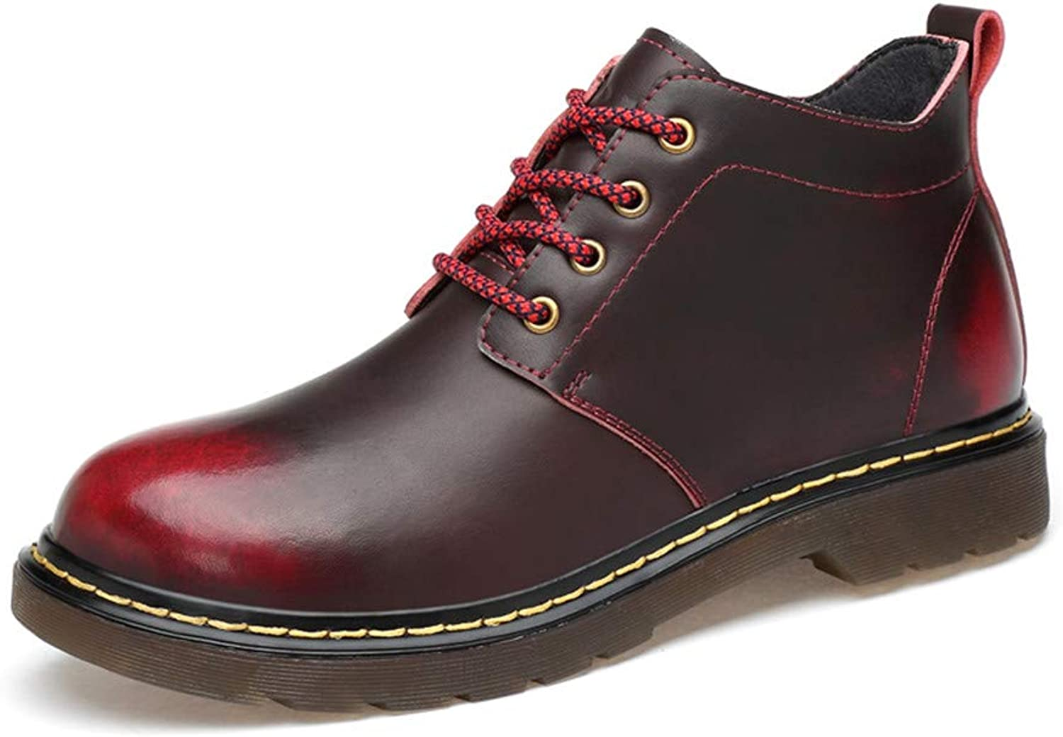 Sunny&Baby Men's and Women's Fashionable Ankle Boots Casual and Retro High Top Painted Outsole Work shoes (Warm Velvet Optional) Durable (color   Warm Wine Red, Size   5.5 D(M) US)