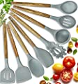 Home Hero Silicone Cooking Utensils Kitchen Utensil Set - 8 Natural Acacia Wooden Silicone Kitchen Utensils Set - Silicone Utensil Set Spatula Set - Silicone Utensils Cooking Utensil Set