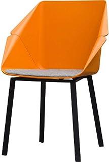 QFWM Sillas de Comedor ForRetro Silla de Cuero Comedor Silla de Comedor Individual Respaldo Silla de la Sala y Comedor Cocina Comedor Muebles (Color : Orange, Size : 49x50x89cm)