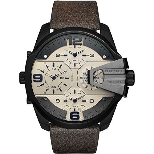 Diesel Herren Analog Quarz Uhr mit Leder Armband DZ7391