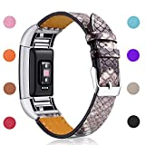 Hotodeal Replacement Leather Band Compatible for Charge 2, Classic Genuine Leather Wristband Metal Connector Watch Bands, Fitness Strap Women Men Small Large (Snake Skin Pattern- Silver Buckle)