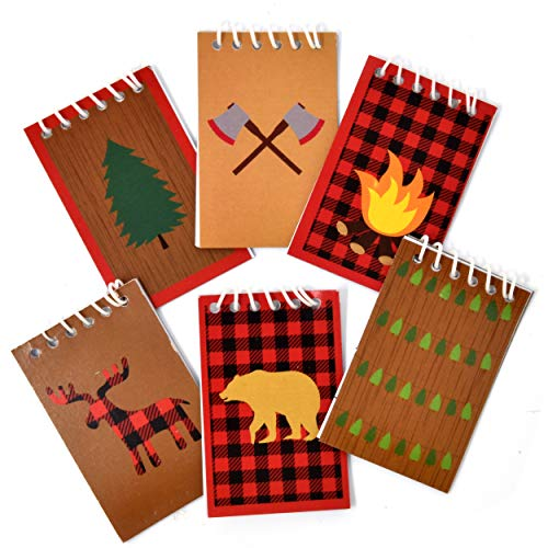 48 Count Woodland Camping Adventure Mini Notepads Forest Animal Creatures Themed Kids Birthday Party Favor Supplies Camper Traveling Explorer Campfire Bear Deer Lumberjack Baby Shower Spiral Notebook Indiana