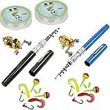 Jatzde Mini Fishing Rod Reel Combo Set:Pocket Fishing Rod Pole+Reel Aluminum Alloy+Fishing Line+Soft...