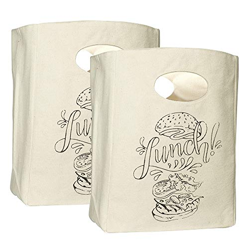 Organic Cotton Canvas Lunch Bag - Eco Friendly & Machine Washable | Perfect for Men, Women & Kids | Lunch Tote for Work, School - Easy to Clean Water Resistant (White with Black Print - 2 Pack)