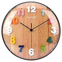 Guten 12 Inch Kids Wall Clock, Silent Non Ticking Battery Operated Quartz Analog Wall Clocks, Colorful Easy to Read 3D Numbers, Decorative Time Telling Clock for Kids Room, Bedroom, Study Room