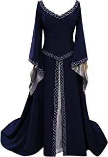 Renaissance Costume Women Medieval Dress Lace Up Vintage Floor Length Cosplay Retro Long Dress Princess Dress