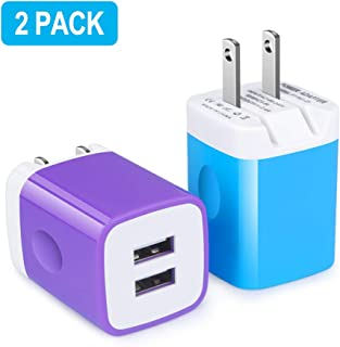 Charging Block, Foldable Wall Charger, 2Pack 2.4A Quick Dual Port Charger Cubes Box with Foldable Plug Compatible for iPhone Xs Max/X/8 Plus/7/6 Plus, Samsung Galaxy S10 S10e S9 S8 Plus S7 S6 Note 9/8